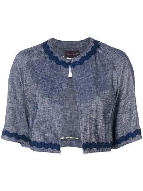 Talbot Runhof jacket cropped jacket cropped women spandex blue