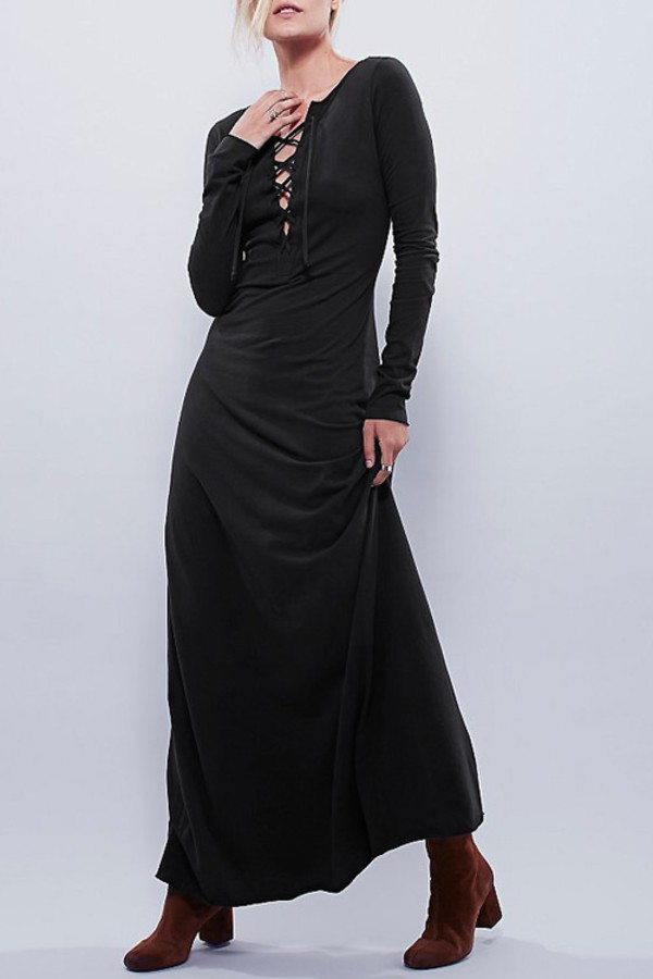 c36a54044a dress maxi dress lace up plunging black dress shoes heels boots clothes  outfit girl beautiful fall