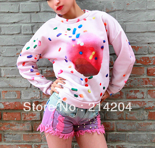 In Stock Donuts 3D printed autumn and winter plus velvet thickening batwing sleeve pullover sweatshirts female women's sweaters -inHoodies & Sweatshirts from Apparel & Accessories on Aliexpress.com