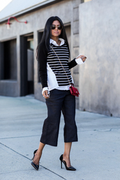 walk in wonderland,blogger,sunglasses,stripes,white shirt,culottes,mini bag,shirt,sweater,pants,bag,shoes,jewels