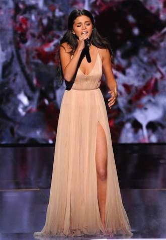 dress selena gomez nude dress long dress flowy slit dress