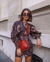 bag,red bag,crossbody bag,sunglasses,dress,long slevees