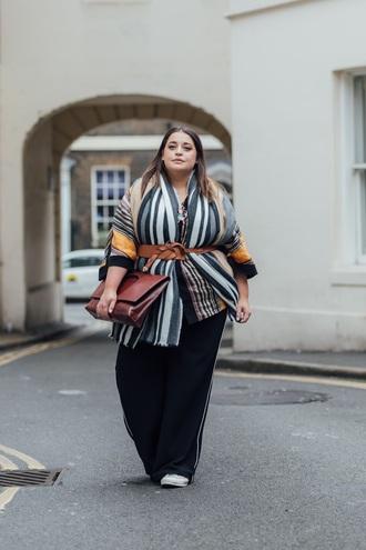pants scarf plus size interview outfit curvy plus size black pants wide-leg pants bag brown bag belt work outfits