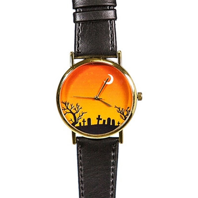 Halloween Cemetery and Moon Watch, Vintage Style Leather Watch, Women Watches, Boyfriend Watch, Men's Watch