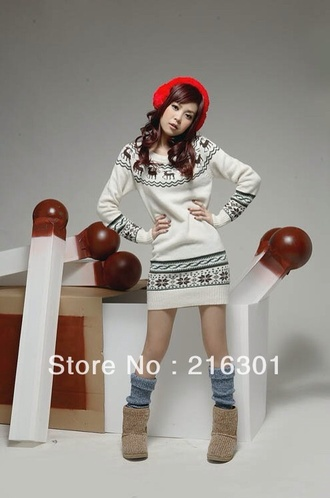 sweater clothes winter outfits white deer flowers black sweater dress