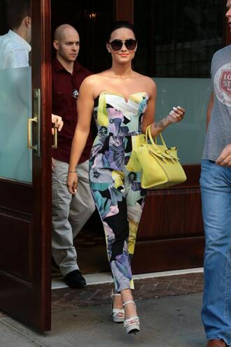 shoes platform sandals summer outfits demi lovato floral jumpsuit strapless purse sunglasses bag