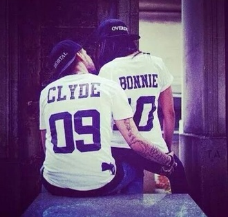 couple bonnie and clyde matching couples matching tee shirts leggings t-shirt white