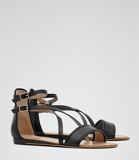 Serena Black Double Strap Flat Sandals - REISS