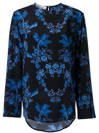 blouse women floral print black silk top