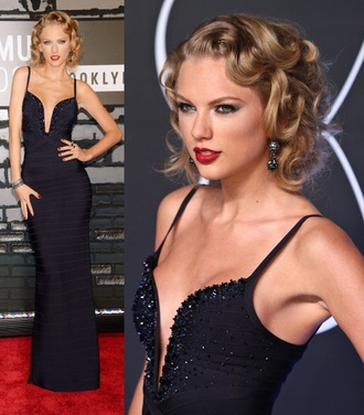 dress taylor swift taylor swift celebrity style red carpet celebrity singer blonde hair awards mtv movie awards black sequins black dress black sequin dress sequin dress prom prom dress