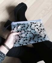 bag,alien,grunge,transparent  bag,boots,pastel goth,goth,transparent,pouch,pencil case