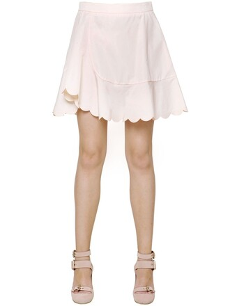 skirt scalloped cotton nude beige