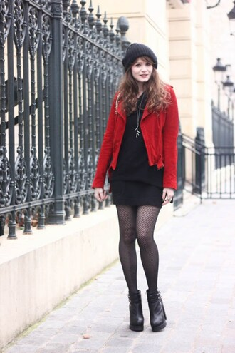mahayanna blogger red jacket net tights fishnet tights