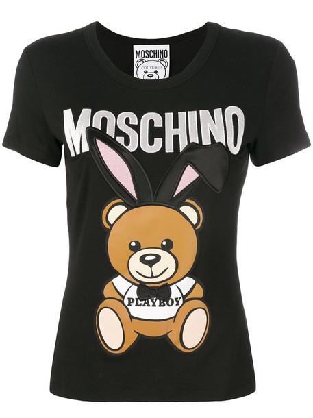 Moschino t-shirt shirt t-shirt embroidered women black top