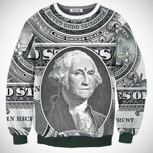sweater crewneck sweatshirt money print