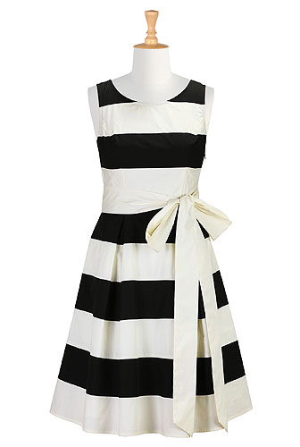 Banded Stripe Poplin Dresses, Bold Stripe Cotton Dresses Women's sleeveless dresses - Dresses, Cocktail Dresses, Party Dresses -  | eShakti.com