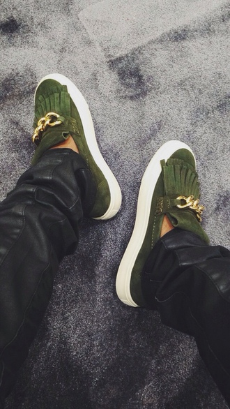 shoes golden details flats green platform shoes green shoes tassel