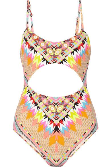 Mara Hoffman|Cutout printed swimsuit|NET-A-PORTER.COM