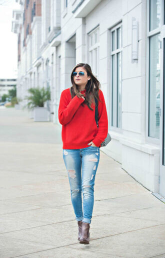 to be bright blogger sweater shoes bag red sweater ankle boots ripped jeans