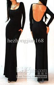 Wholesale Sexy Black Minimalist Backless Open Cutout Back Slip Jersey Long Maxi Dress SML Free Size, Free shipping, $32.95/Piece | DHgate Mobile