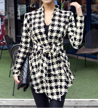 cardigan blazer jacket elegant fashion style fall outfits houndstooth black and white