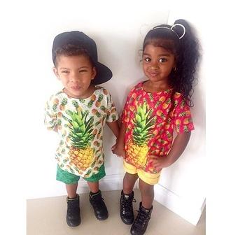 guys girl swag kids fashion ears headband baby bear pineapple print summer outfits tropical cute