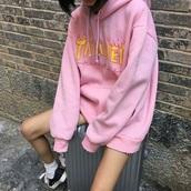 sweater,tumblr,crop tops,hoodie,orange,jacket,thrasher,pink,pastel,aesthetic