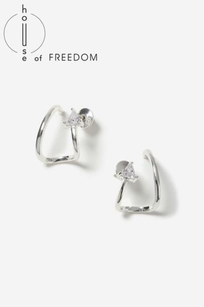 Topshop earrings stud earrings silver jewels