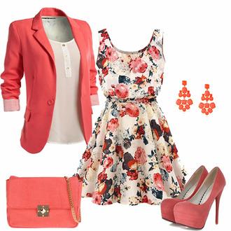 coral dress coral blazer jacket jacket