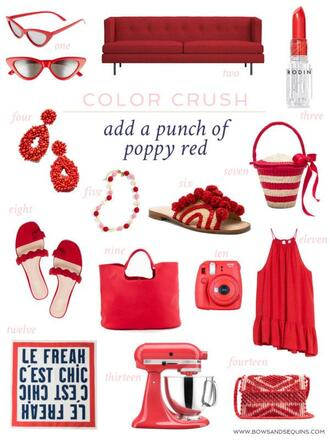 bows&sequins blogger sunglasses make-up jewels shoes bag tank top scarf all red wishlist red bag red shoes spring outfits sandals slide shoes
