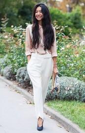 pants,white pants,tumblr,tumblr outfit,shirt,pink shirt,blue high heels,high heels,stella mccartney,stella mccartney trousers,crepe trousers,mytheresa