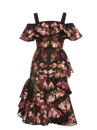 gown chiffon jacquard black red dress