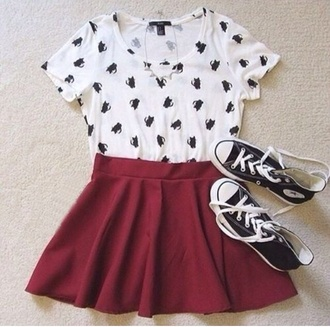 top t-shirt skirt skater skirt style cat top cats cardigan
