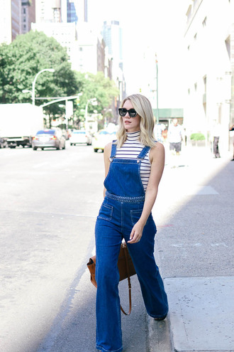 miss lyle style blogger sleeveless striped top denim overalls