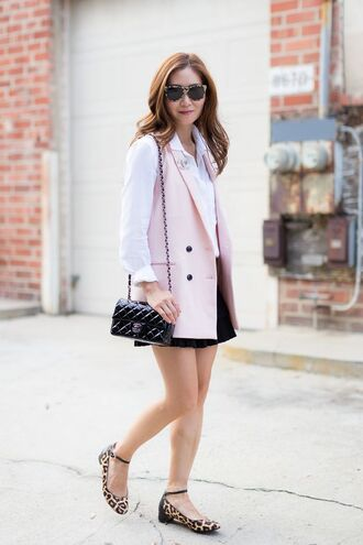 jewels brooch chanel brooch accessories chanel bag chanel vest pink vest shorts black shorts shirt white shirt flats animal print black bag chain bag tortoise shell tortoise shell sunglasses sunglasses
