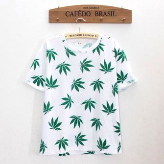 sweater white t-shirt tee smoke color celebrity brand weed green plant