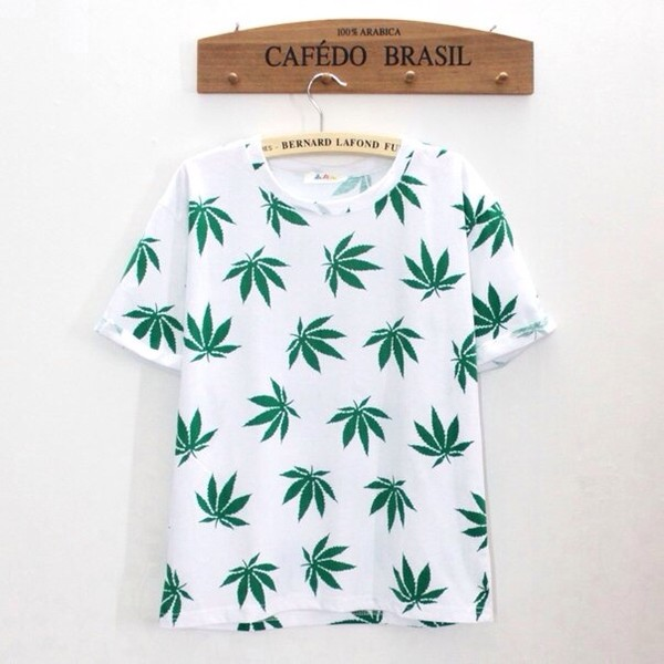 t-shirt colorful celebrity brand weed white green smoke plants t-shirt sweater pants bag