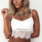 White spaghetti straps lace overlay scalloped hem crop top