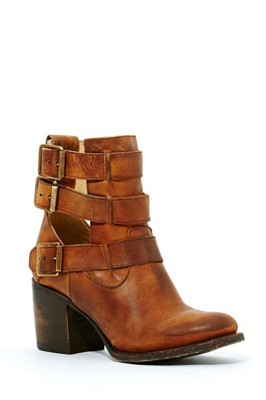 nastygal shoes freebird rolling buckle boot boots tan leather boots leather