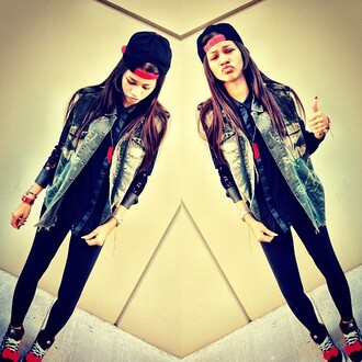 zendaya baseball cap denim jacket black leggings dope urban