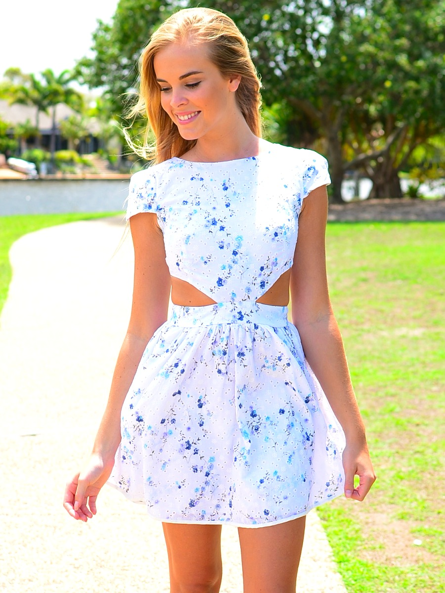 Multi Floral Dress - Floral Print Cutout Dress with | UsTrendy