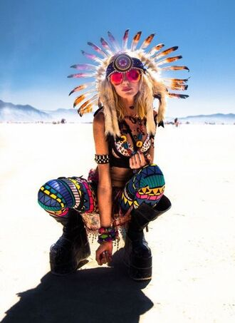 leggings burning man burning man clothing burning man costume festival music festival festival jewelry indian indian headdress printed leggings top crop tops bra boots black boots platform boots sunglasses mirrored sunglasses