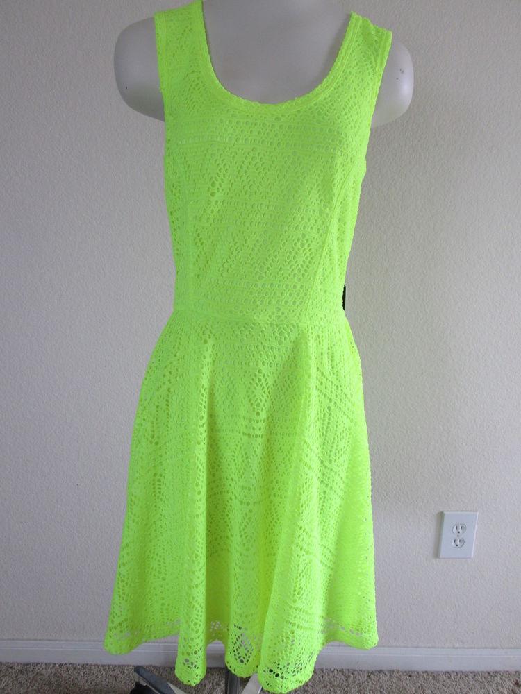 Women's Express Neon Yellow Sleeveless Summer Lace Dress Large MSRP 59 90 | eBay