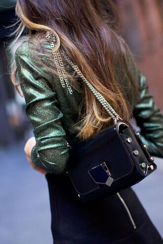 blouse metallic blouse red top tumblr bag black bag chain bag shoulder bag skirt black skirt