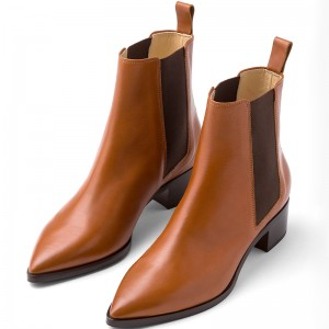 Brown Chelsea Boots Block Heel Ankle Boots