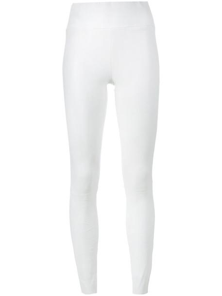 SPRWMN women spandex leather white pants