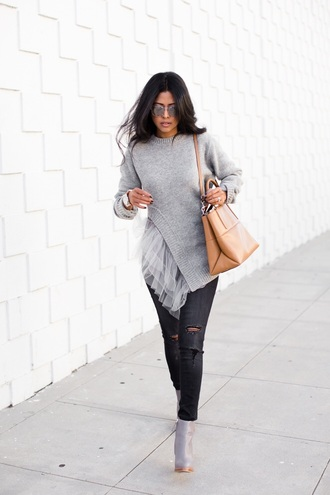 grey grey sweater asymmetrical grey boots winter sweater winter outfits nude top cardigan this skirt faux leather walk in wonderland blogger sweater cut out sweater gray pullover pullover