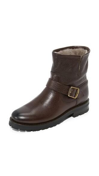 short dark booties brown shoes