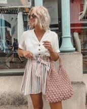 white shirt,short sleeve,button up,High waisted shorts,handbag,sunglasses,stripes