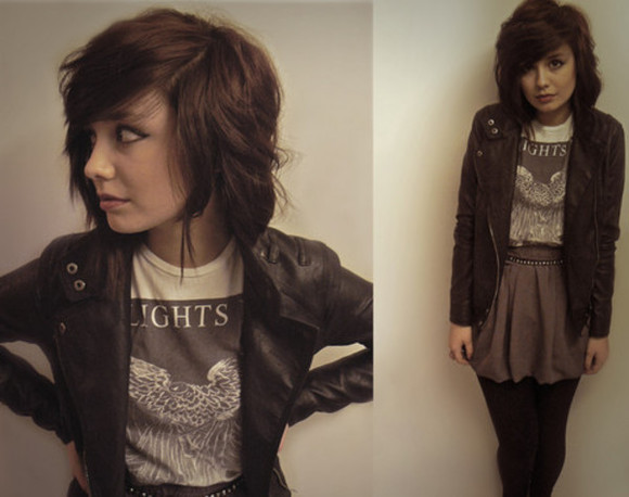 skirt jacket cute brown jacket shoes short hair simple casual clothes\